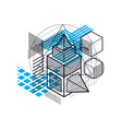 lines and shapes abstract isometric 3d background vector image
