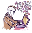 Man Chatting With Laptop vector image