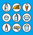 milk products icons vector image vector image