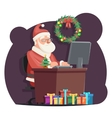 Office Santa Claus Sit Computer Work Table vector image