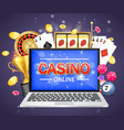 online casino poster banner design template vector image