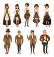 people dressed in historic clothes man and woman vector image vector image