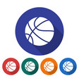round icon of basketball flat style with long vector image vector image