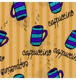 Seamless pattern with sketchy coffee cups vector image