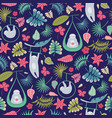 seamless repeat pattern of circus sloths vector image vector image