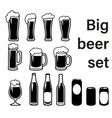 set beer mugs bottles and glasses vector image