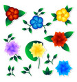 set exotic flower stickers vector image