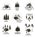 set vintage camping and outdoor adventure vector image