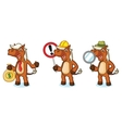 Sienna Horse Mascot with magnifying vector image vector image