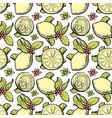 sketch lemon slice yellow seamless pattern vector image vector image