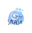 splash logo original design aqua blue label vector image vector image
