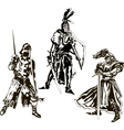 Three Medieval Knights vector image vector image