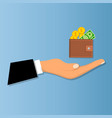 wallet with money and credit card vector image