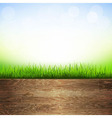 Wooden Background With Grass Border