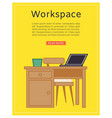 workspace poster office desk interior vector image