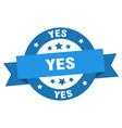 yes ribbon yes round blue sign yes vector image vector image