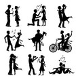 happy couples in love just married bride and groom vector image