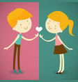 boy and girl one love one heart vector image