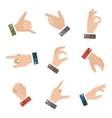 Collection empty hands showing different gestures vector image