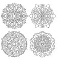 set of black and white mandala vector image