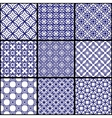 A set of blue seamless geometric patterns vector image vector image