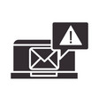 alert icon laptop email message warning vector image