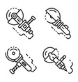 angle grinder icons set outline style vector image vector image