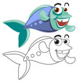 animal outline for fish swimming vector image vector image