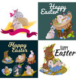 basket decorated easter eggs on green grass for vector image vector image