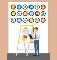 bitcoin cryptocurrency analysis on board vector image vector image