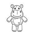black and white a funny cartoon hippopotamus vector image vector image