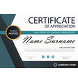 blue black elegance horizontal certificate vector image vector image