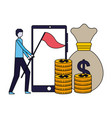 businessman with flag mobile coins money vector image vector image