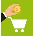 cart shopping money icon vector image vector image