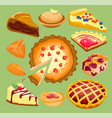 cartoon cakes pie slice fresh tasty berry dessert vector image