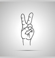 cartoon hand in victory gesture simple outline vector image