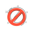 cartoon stop sign icon in comic style danger vector image vector image