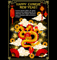 chinese new year gold dragon vector image vector image