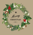 christmas wreath with winter berries vector image