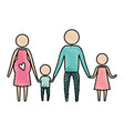 Color crayon silhouette pictogram parents with
