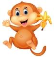 Cute monkey cartoon eating banana vector image vector image