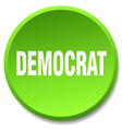 democrat green round flat isolated push button vector image vector image