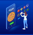 ecommerce concept order food online website fast vector image vector image