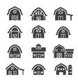 farm building icon set vector image vector image