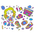 fashion patch badges with woman lips tape vector image