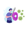 fight covid19 with shield and sword vector image vector image