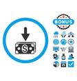 Get Dollar Banknotes Flat Icon with Bonus vector image vector image
