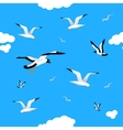 Gulls and clouds in the blue sky Seamless vector image vector image