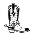 hand drawn cowboy boot isolated on white vector image vector image