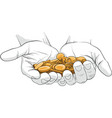 hand holding gold coins vector image